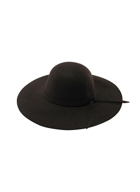 Laslusa İçten Ayarlanabilir Yün Geniş Kenar Şapka Kahve